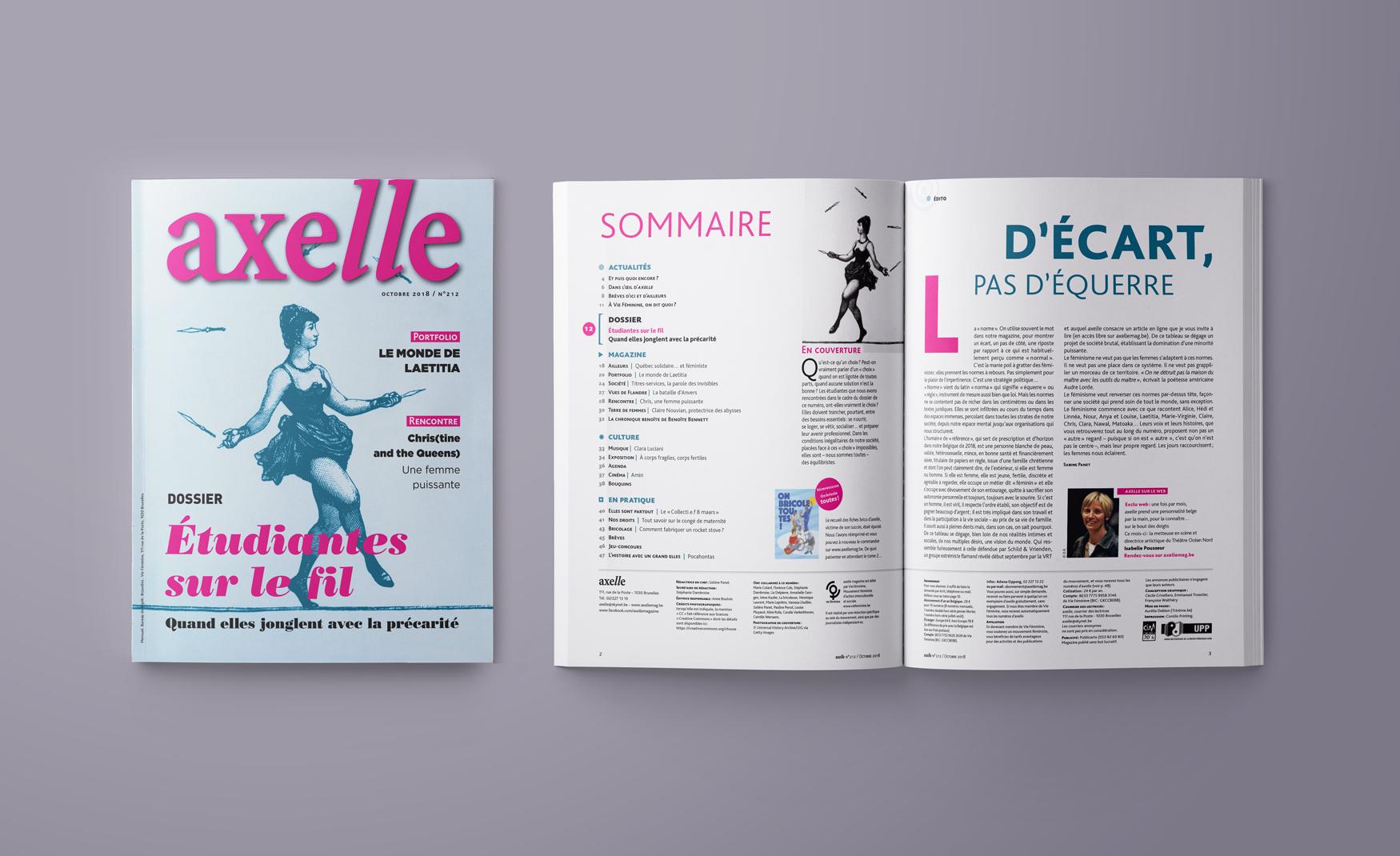 Mise en pages du magazine Axelle numéro 212