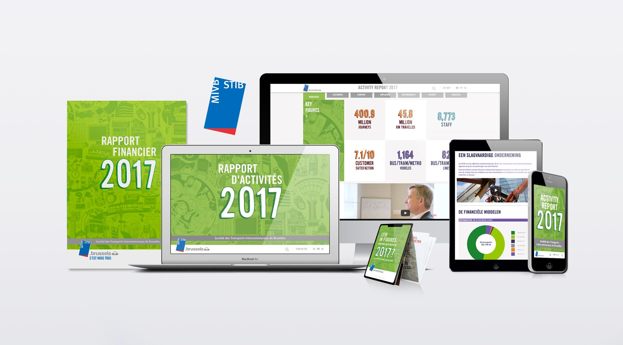 Rapport annuel 2017 de la STIB sous plusieurs formats. Imprimés et responsive design